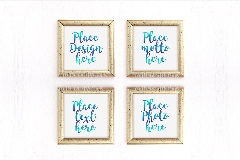 Bundle set of 4, set of 2 frames and one golden square frame mockup minimal art display example image 1