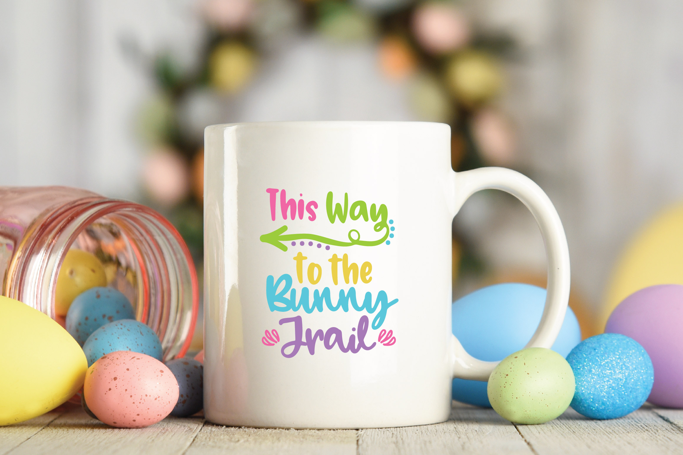 Easter SVG Cut File - This Way to the Bunny Trail SVG DXF example image 3