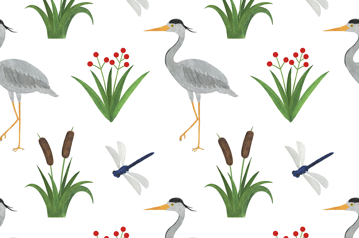 Set of heron watercolor illustrations example image 5