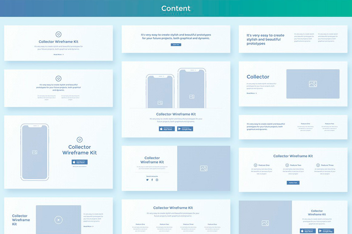 Collector Wireframe Web Kit example image 4