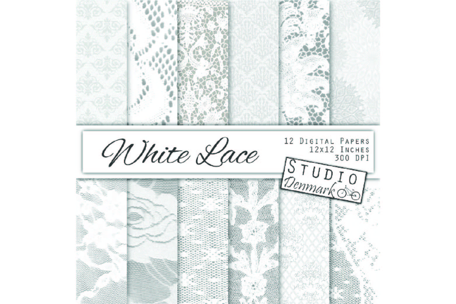 White Lace Digital Paper - Wedding Backgrounds example image 1