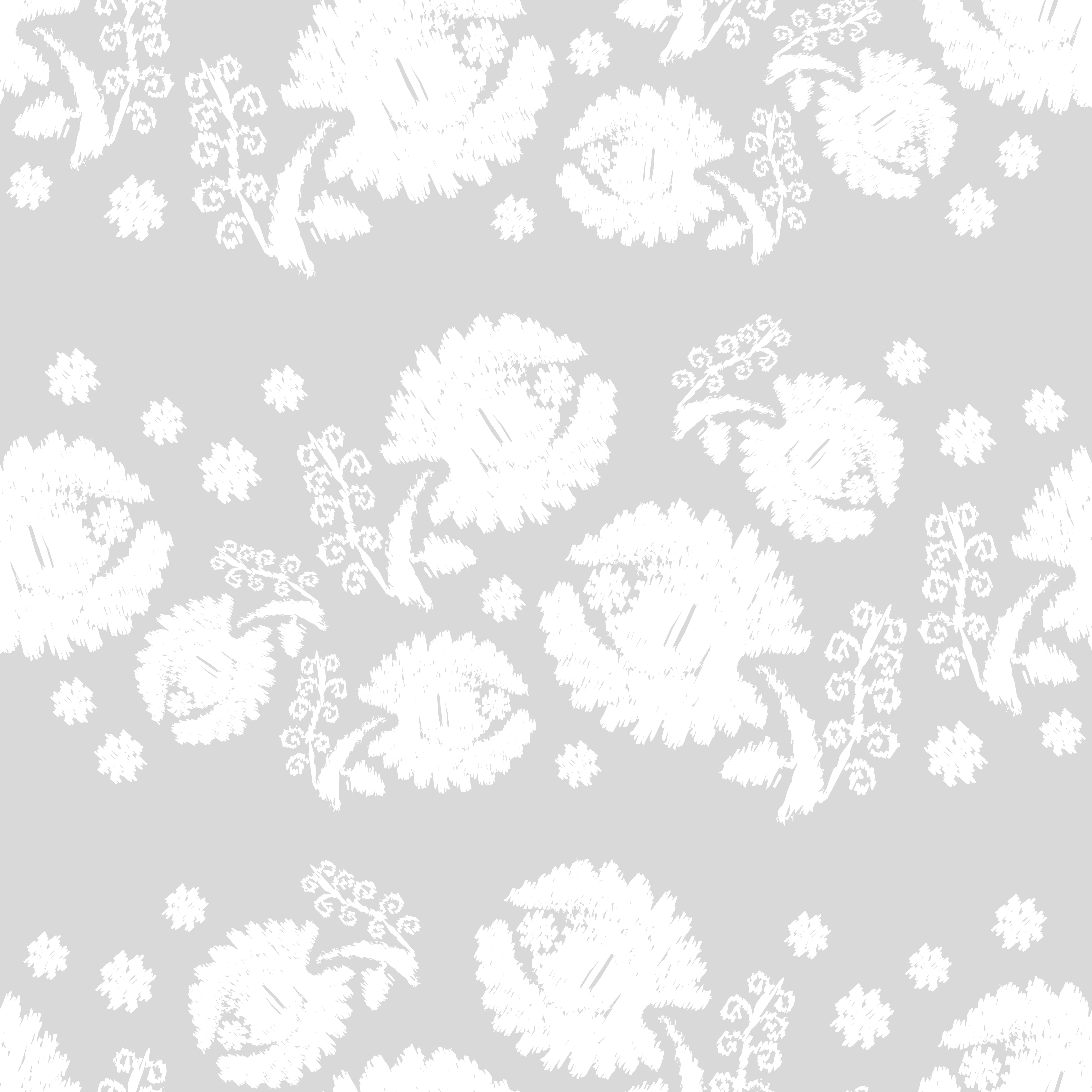 Set of 6 Seamless vector background. White flowers on a gray background. example image 6