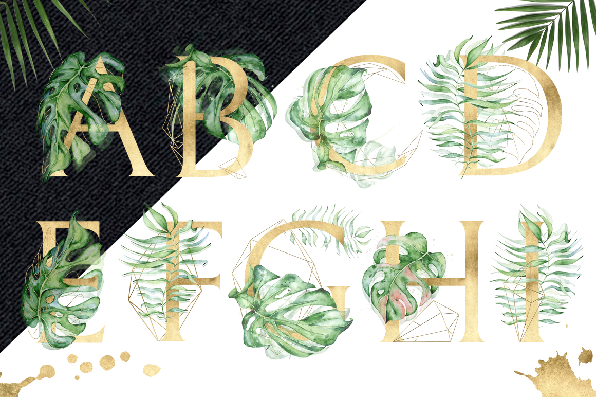 Gold Monstera - tropical leaves alphabet example image 2