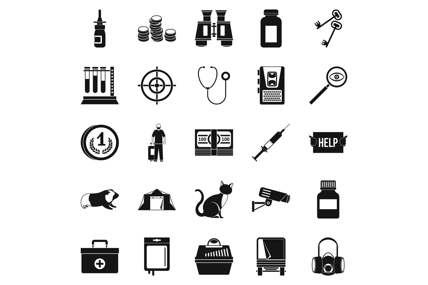 Chase icons set, simple style example image 1