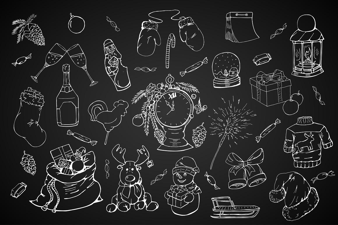 Christmas doodle set + patterns example image 9
