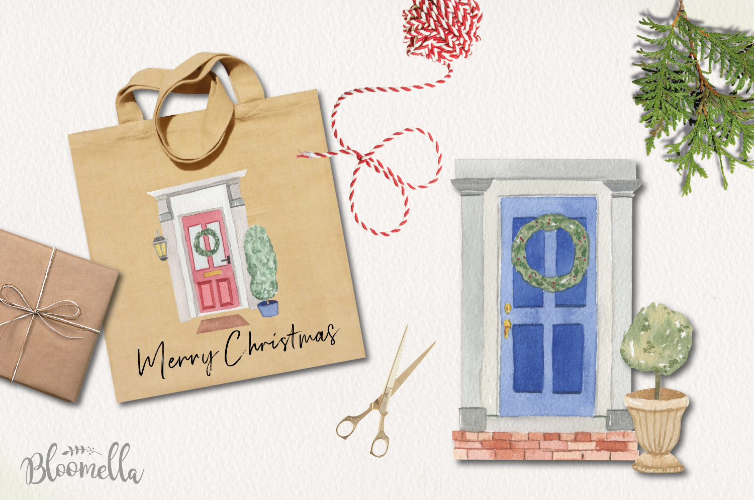 Festive Door Elements Watercolor Bushes Christmas Holidays example image 3