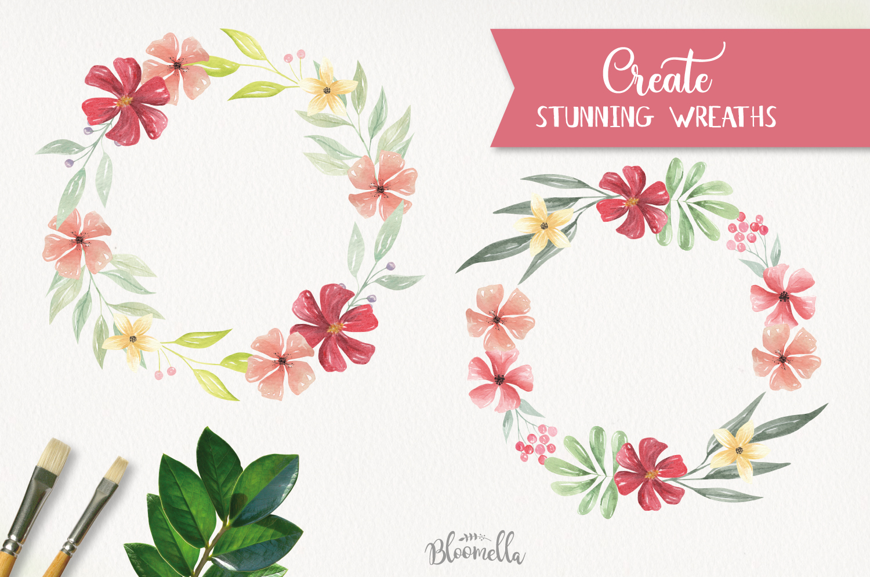 Claret 20 Watercolor Elements Flowers Burgundy Foliage Leaf example image 2