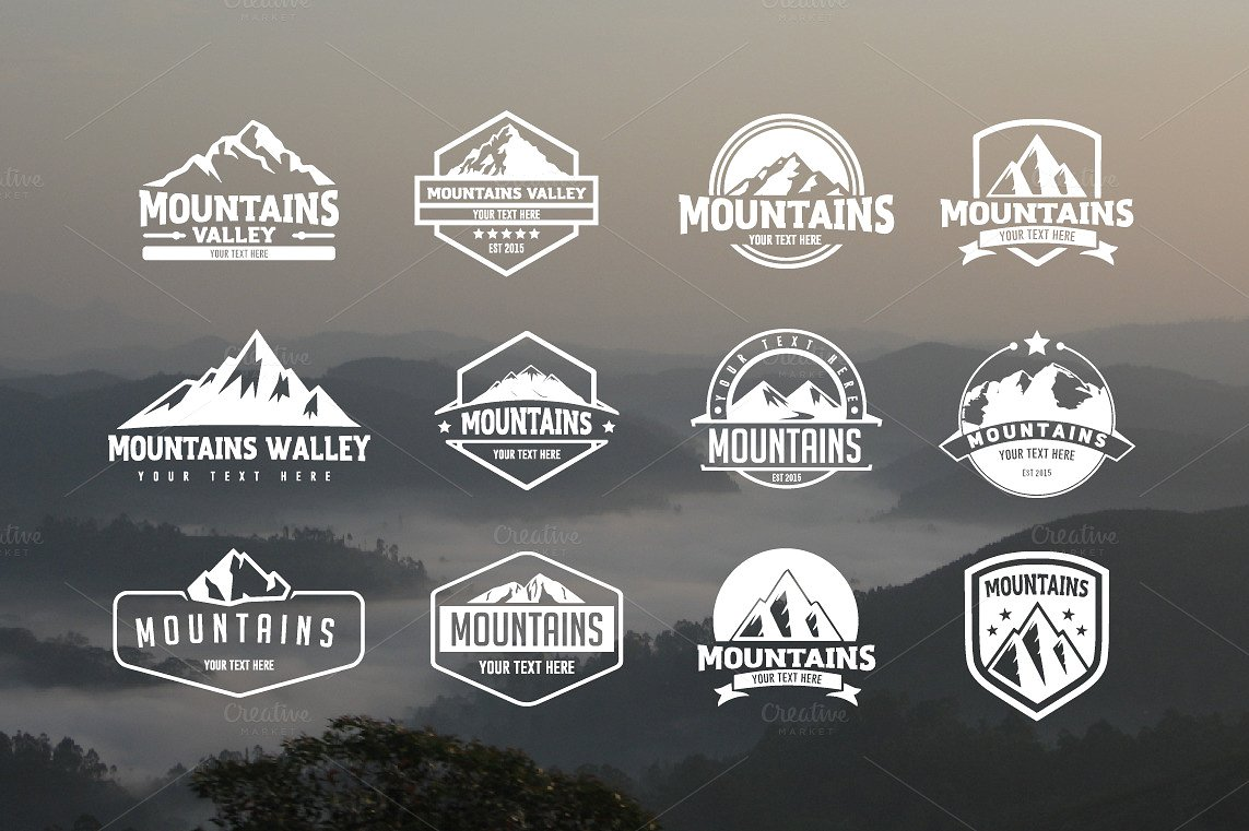 Pack of 12 mountains logo, 62 icons example image 1