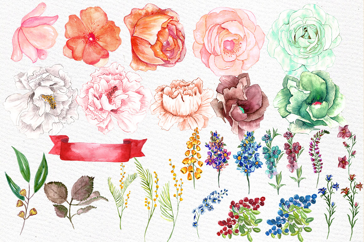 Watercolor floral clip art example image 2