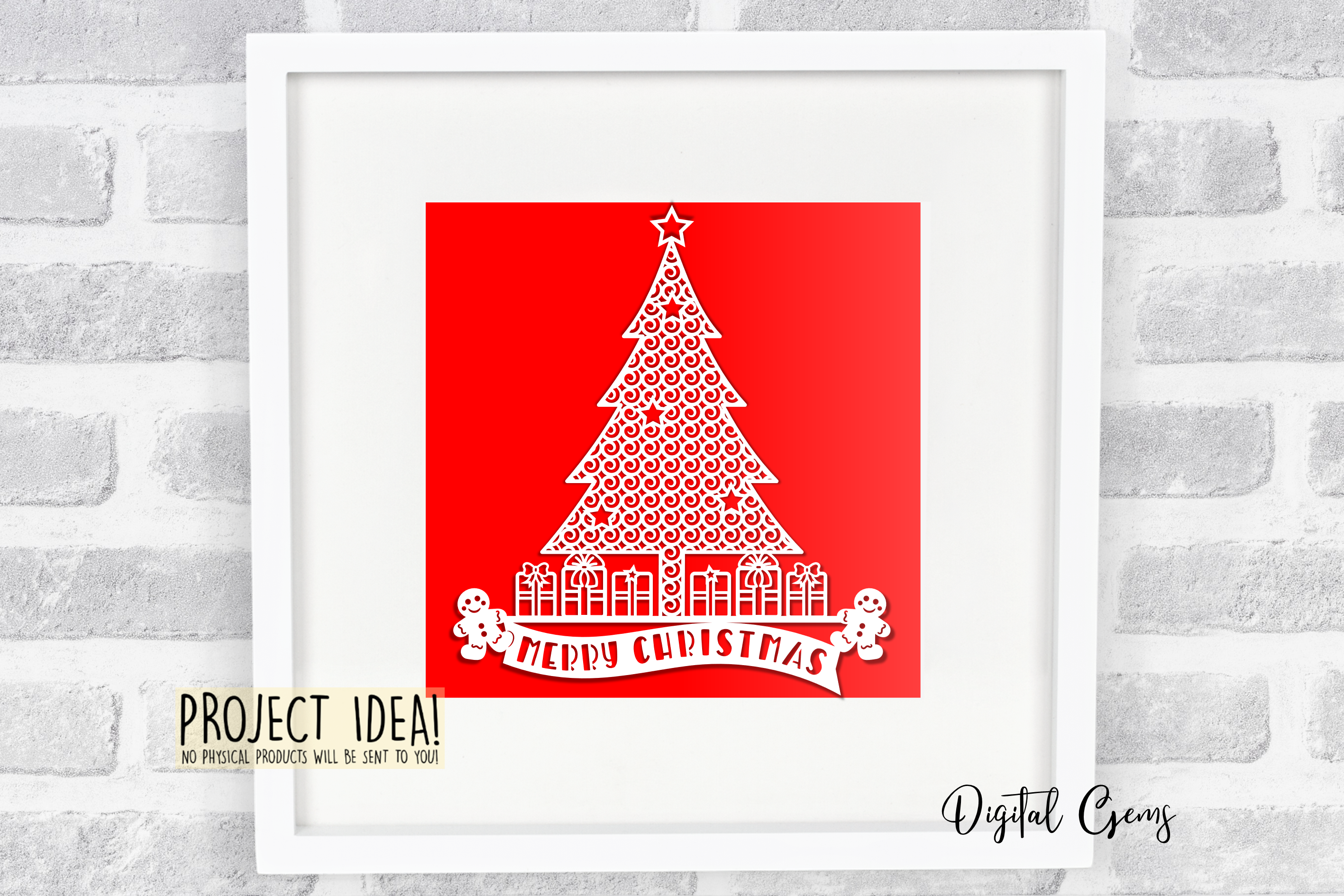 Merry Christmas paper cut design SVG / DXF / EPS / PNG files example image 6