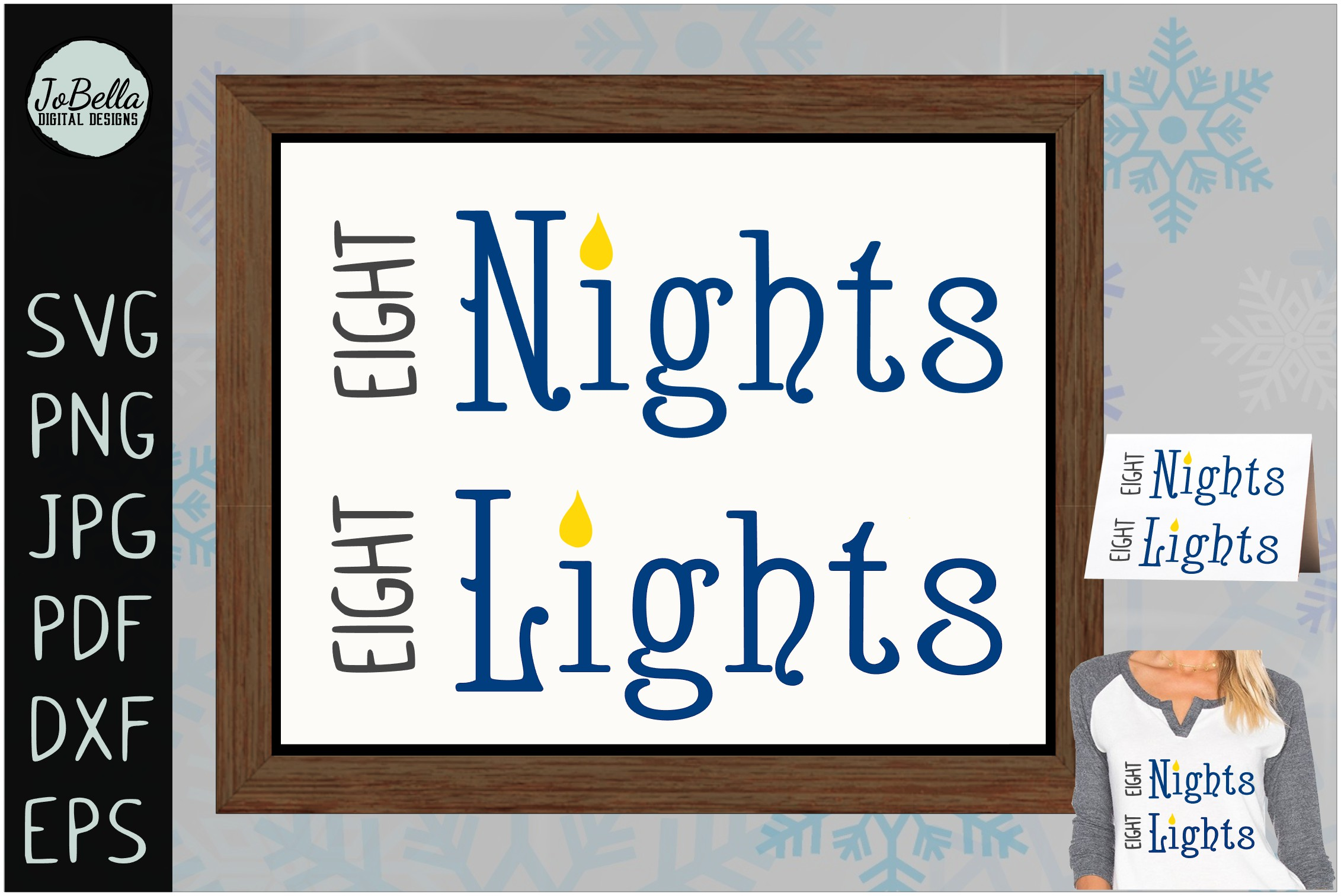 Eight Nights Hanukkah SVG, Printable and Sublimation PNG example image 2
