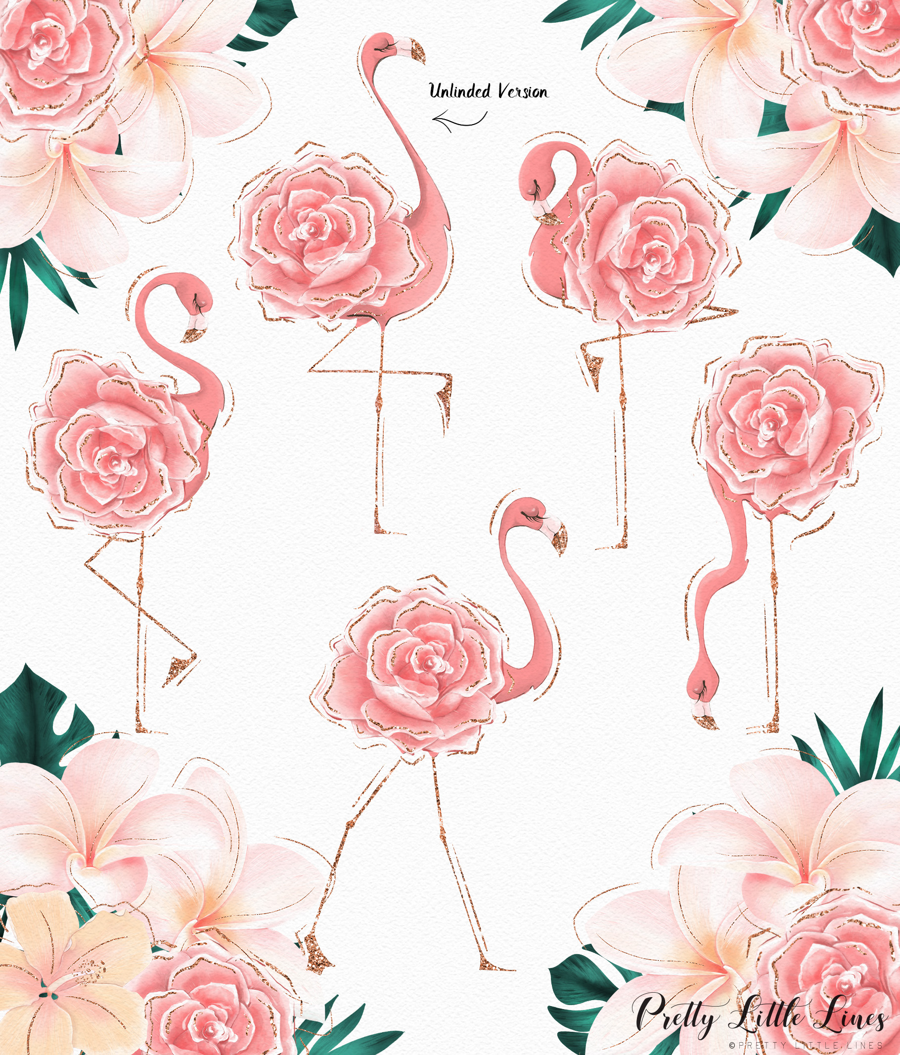 Tropical Flowers & Flamingos example image 8
