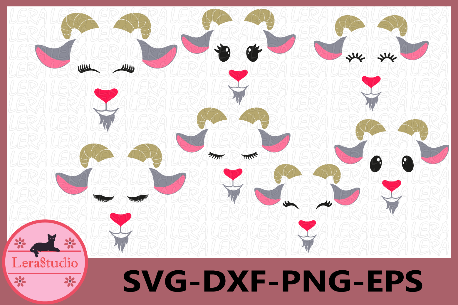 Goat Face Svg, Farm Svg, Goat Eyelashes Face Svg, Goat Head example image 1