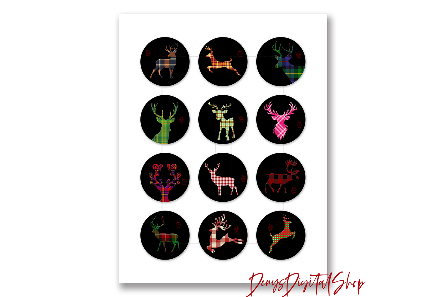 Christmas Reindeer,Buffalo Reindeer,Reindeer Digital Collage example image 2