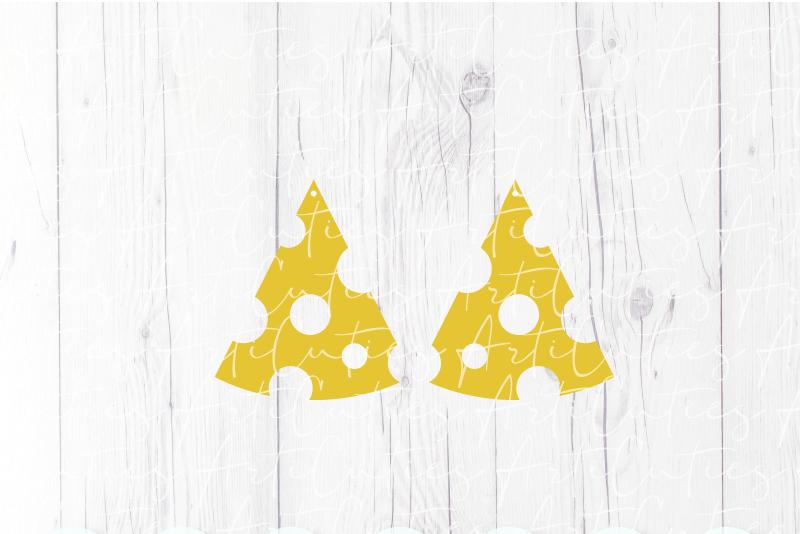 Cheese earrings template SVG, DIY earrings template example image 3