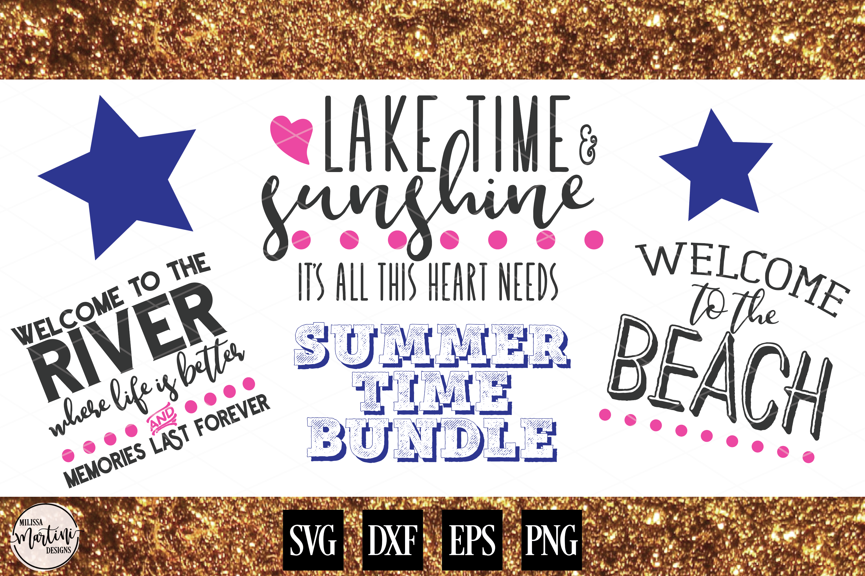 SUMMER SIGN BUNDLE LAKE, BEACH AND RIVER example image 1