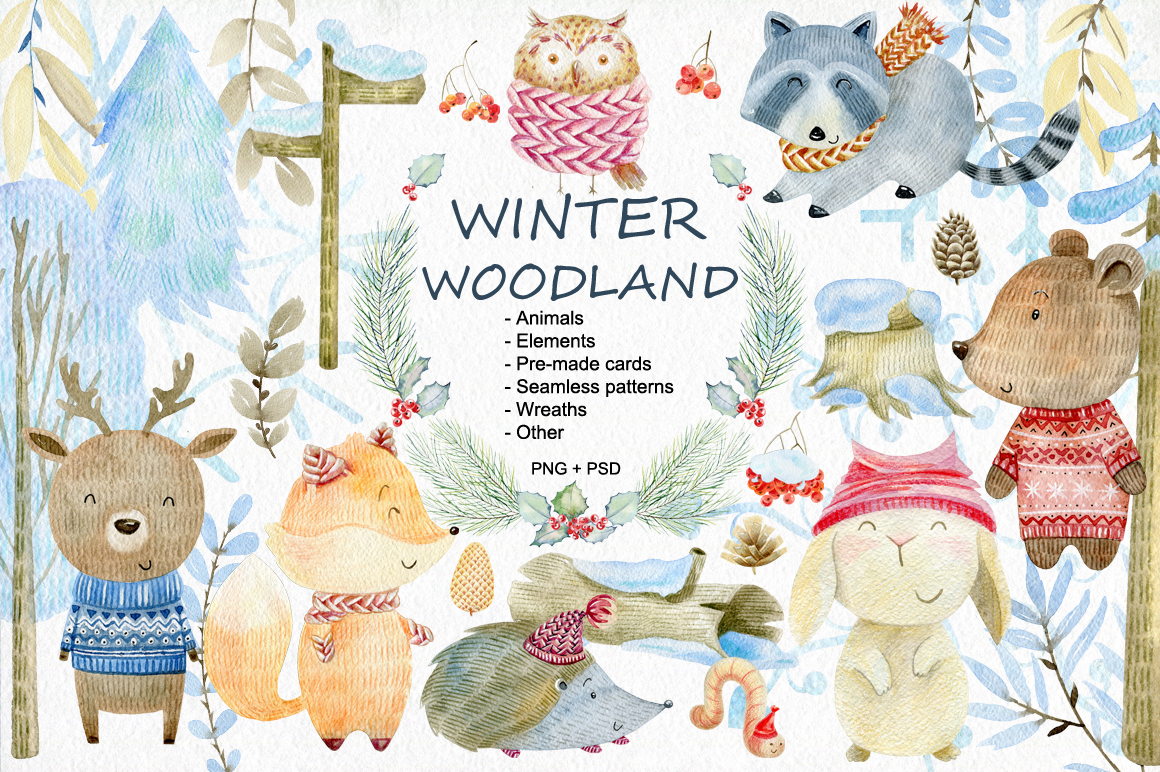 Winter Woodland. Watercolor set. example image 1
