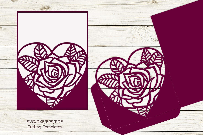 Rose heart Pocket envelope Wedding Invitation svg laser cut example image 4