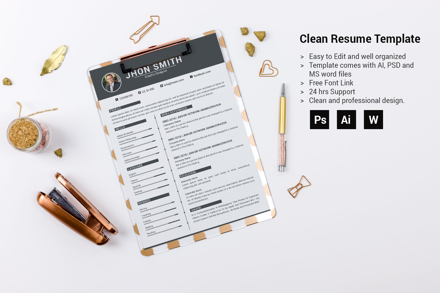 Professional Cv Resume Bonus business card Word/PSD,AI example image 5