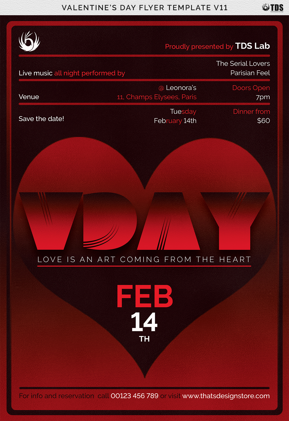 Valentines Day Flyer Template V11 example image 8
