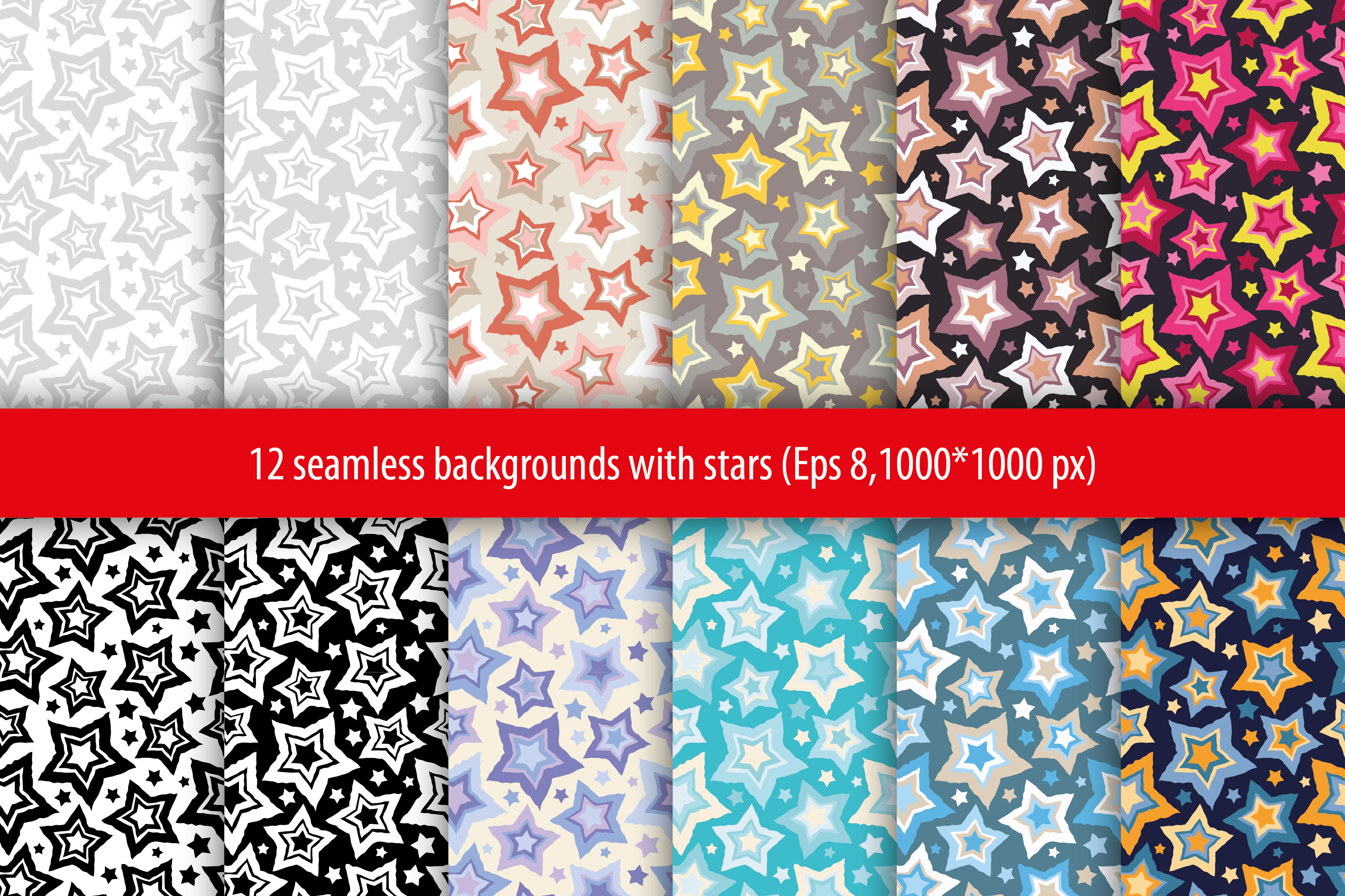 Set of 12 seamless vector backgrounds with decorative stars.  example image 1
