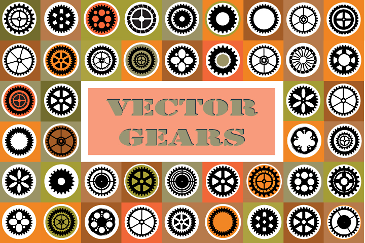 Set of vector gears example image 1