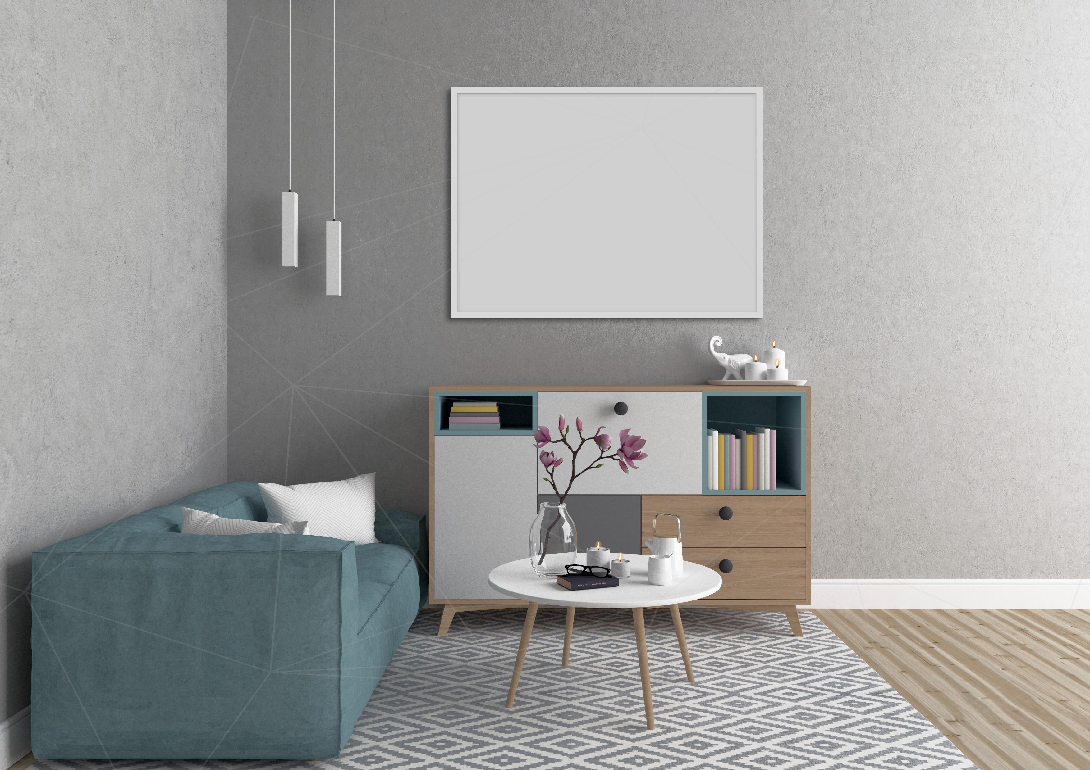 Interior mockup bundle - blank wall mock up example image 3