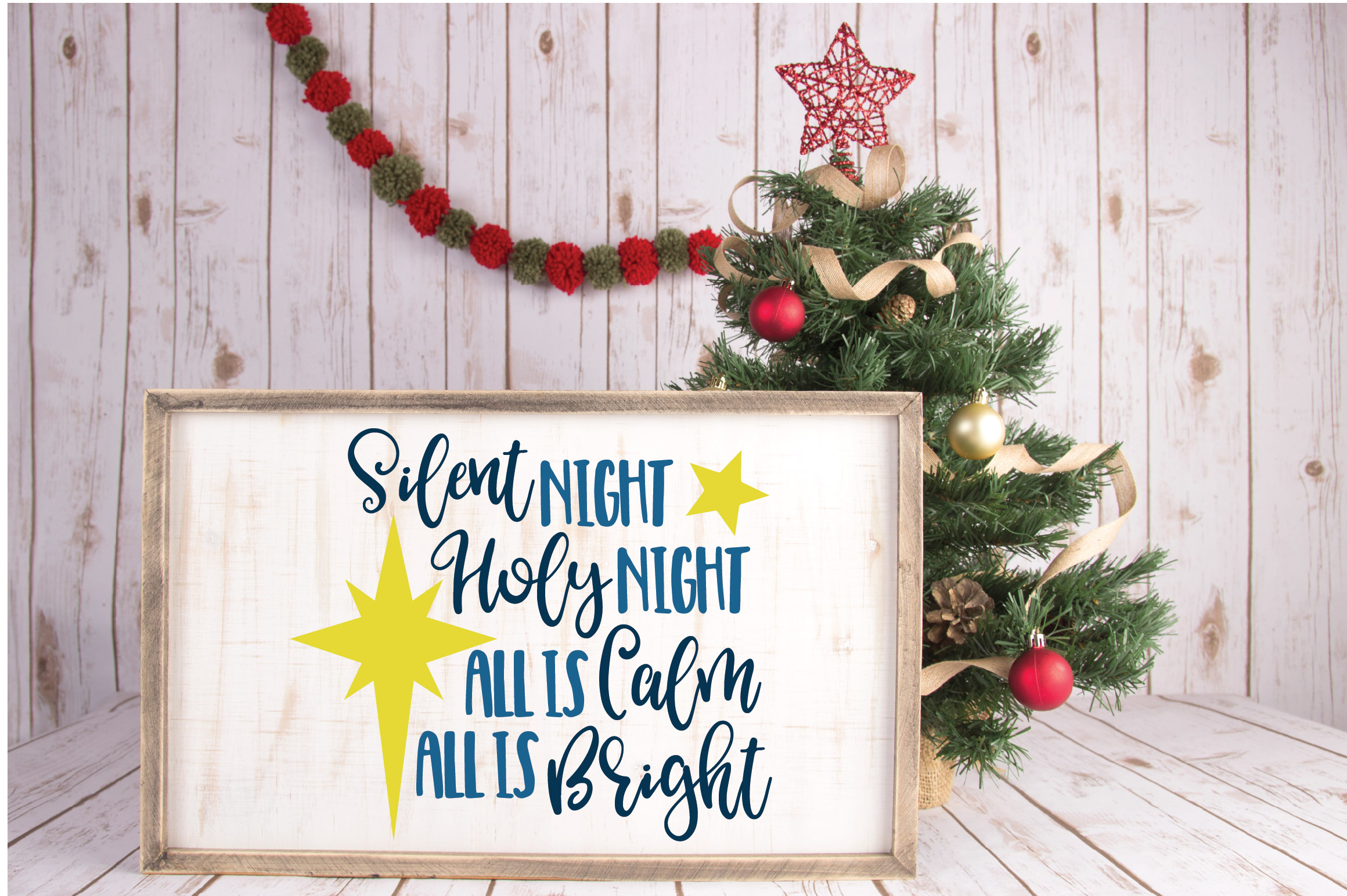 Silent Night SVG Cut File - Christmas SVG - DXF - PNG - EPS example image 4