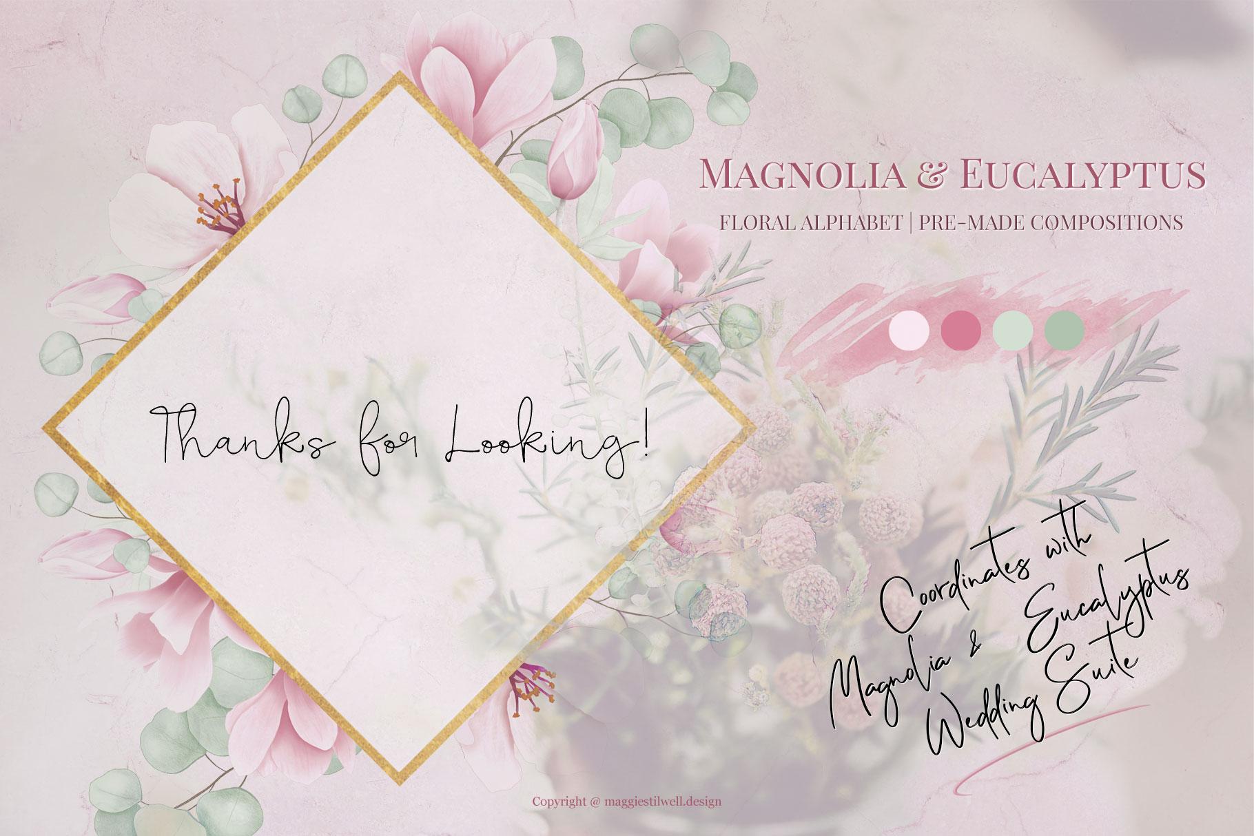 Magnolia & Eucalyptus Floral Alphabet example image 5