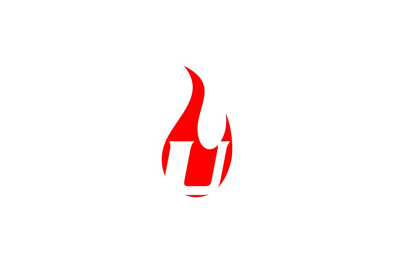 u letter flame logo example image 1