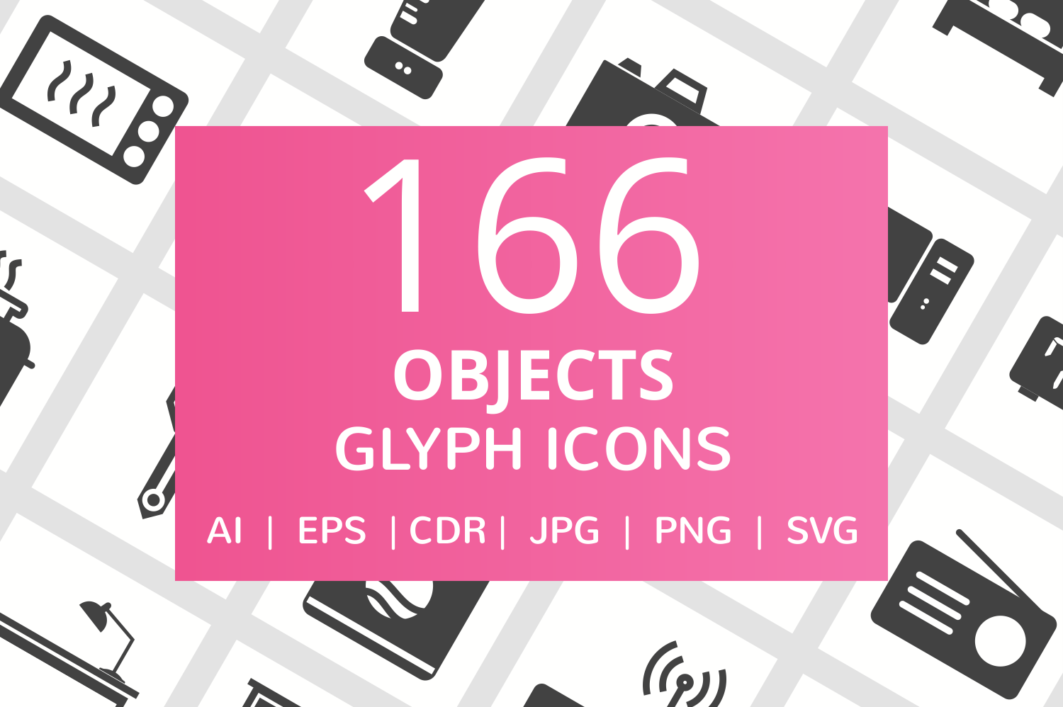 166 Objects Glyph Icons example image 1