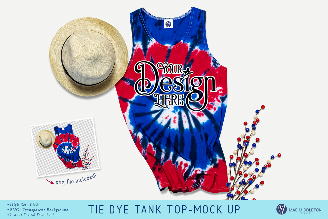 Tie Dye Tank Top Mock up- for summer, styled photo example image 1
