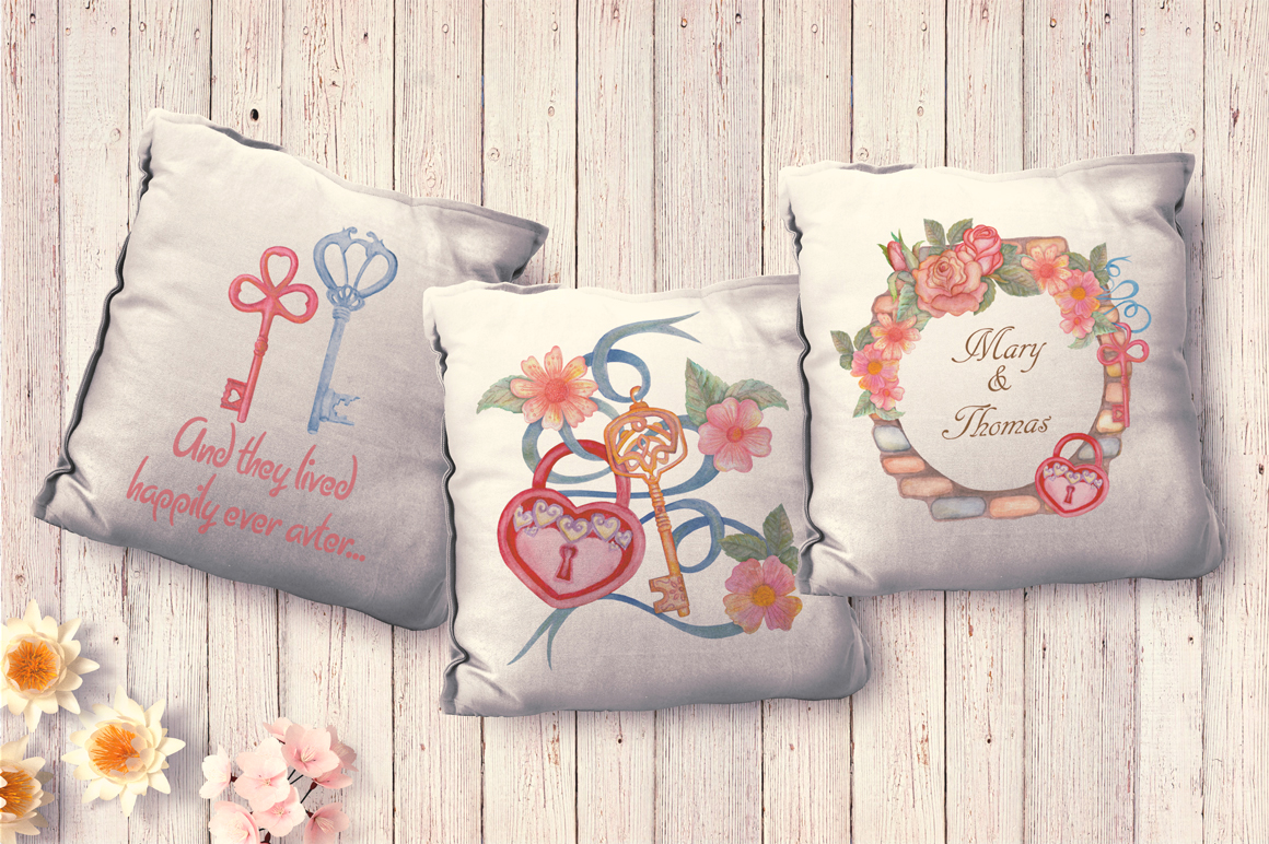 Home Sweet Home. Keys, floral watercolor wonderland collection example image 12