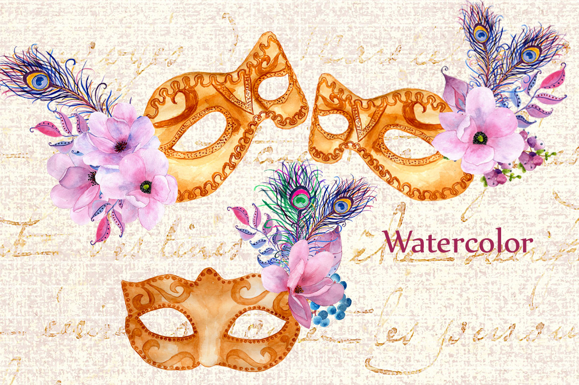 Watercolor masks and flowers clipart example image 3
