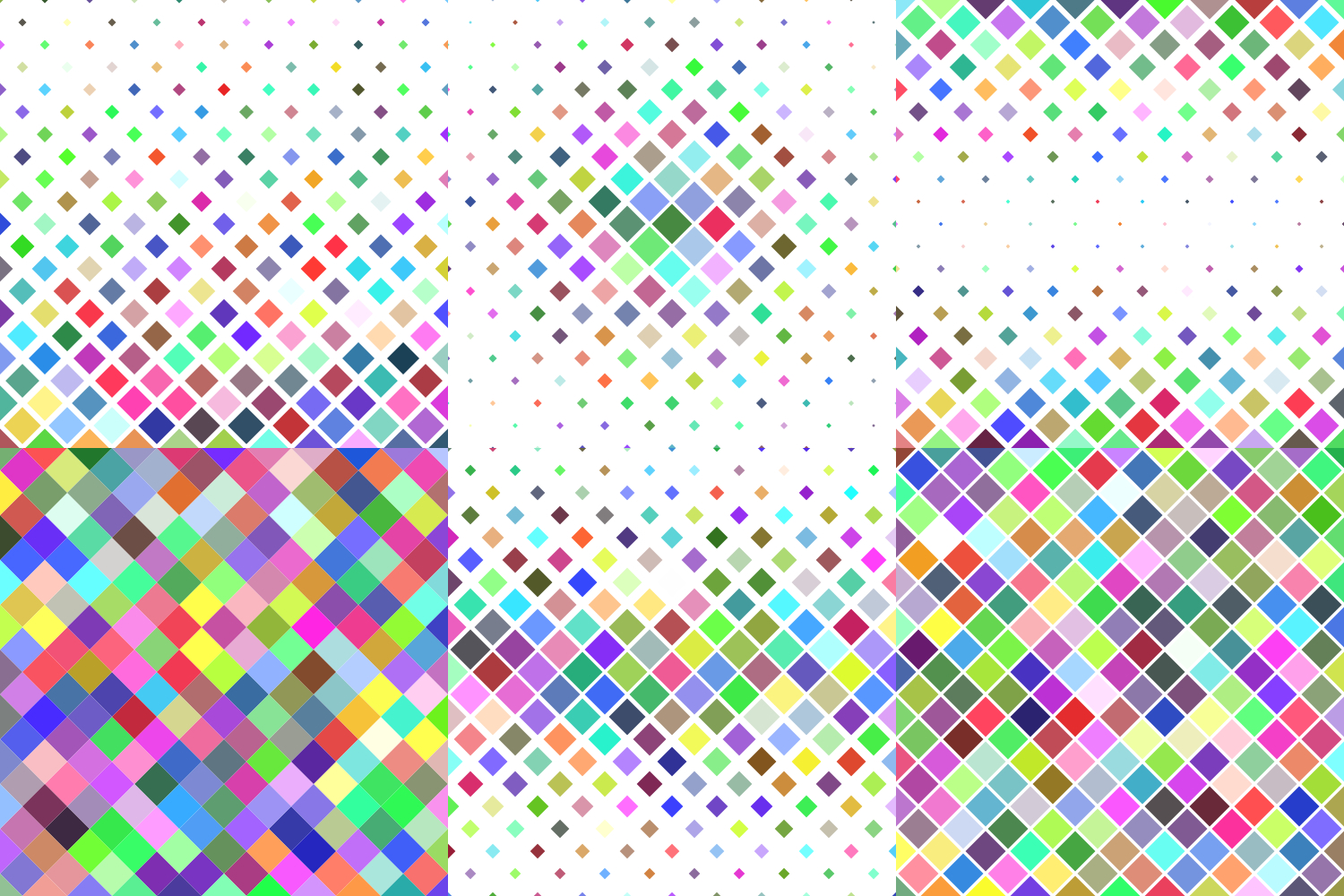 24 Multicolored Square Patterns (AI, EPS, JPG 5000x5000) example image 3
