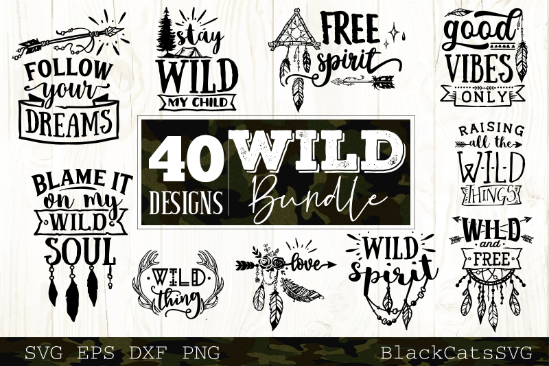 Wild and Boho SVG bundle 40 designs Wild SVG bundle example image 2