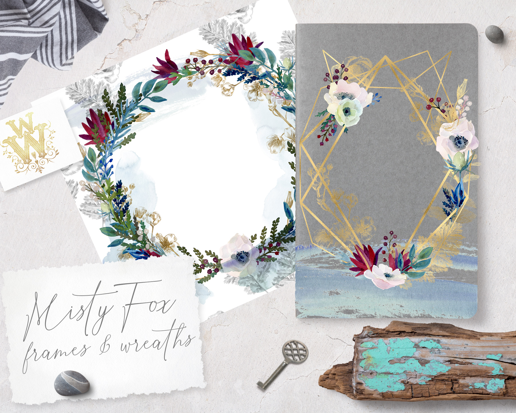 Watercolor white flowers frame, wedding wreath invitation example image 5
