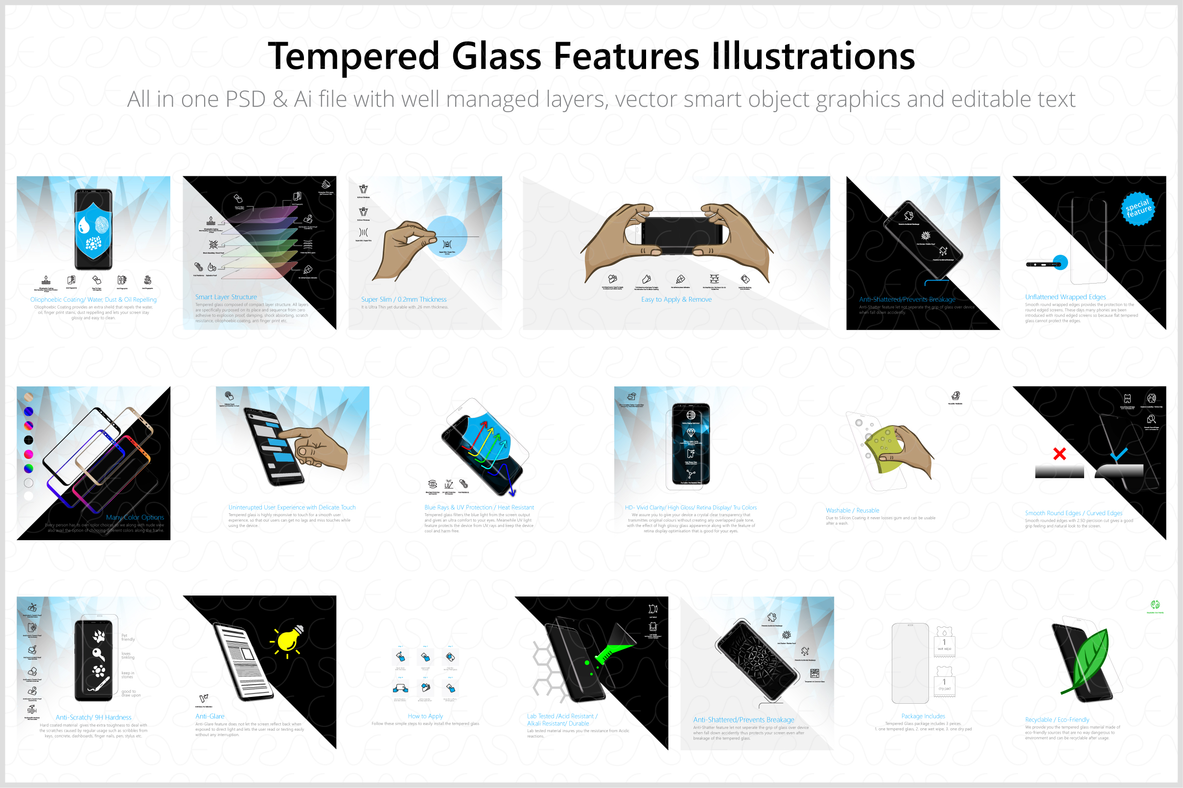 Tempered Glass Features Illustrations & Icons Pack example image 4