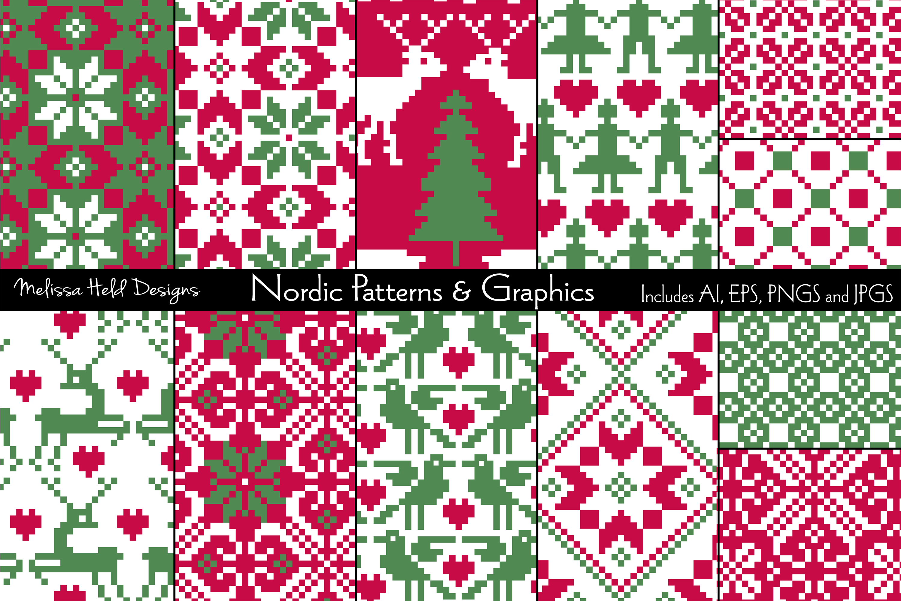 Seamless Nordic Patterns & Graphics example image 1