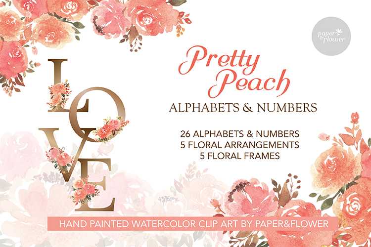Peach Rose Watercolor Alphabet Set example image 1