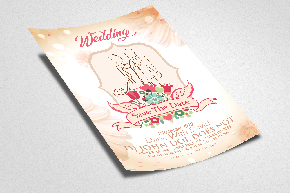 Wedding Invitation Flyer/Poster Template example image 2