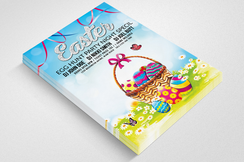 Easter Egg Psd Flyer Print Template example image 2