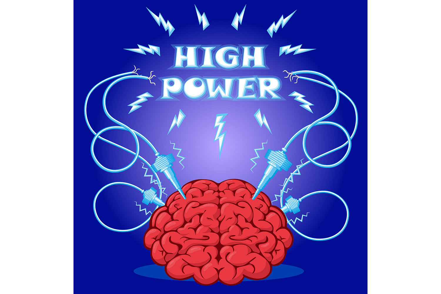Set of poster: brain with electrodes energized.  Vector illustration. example image 2