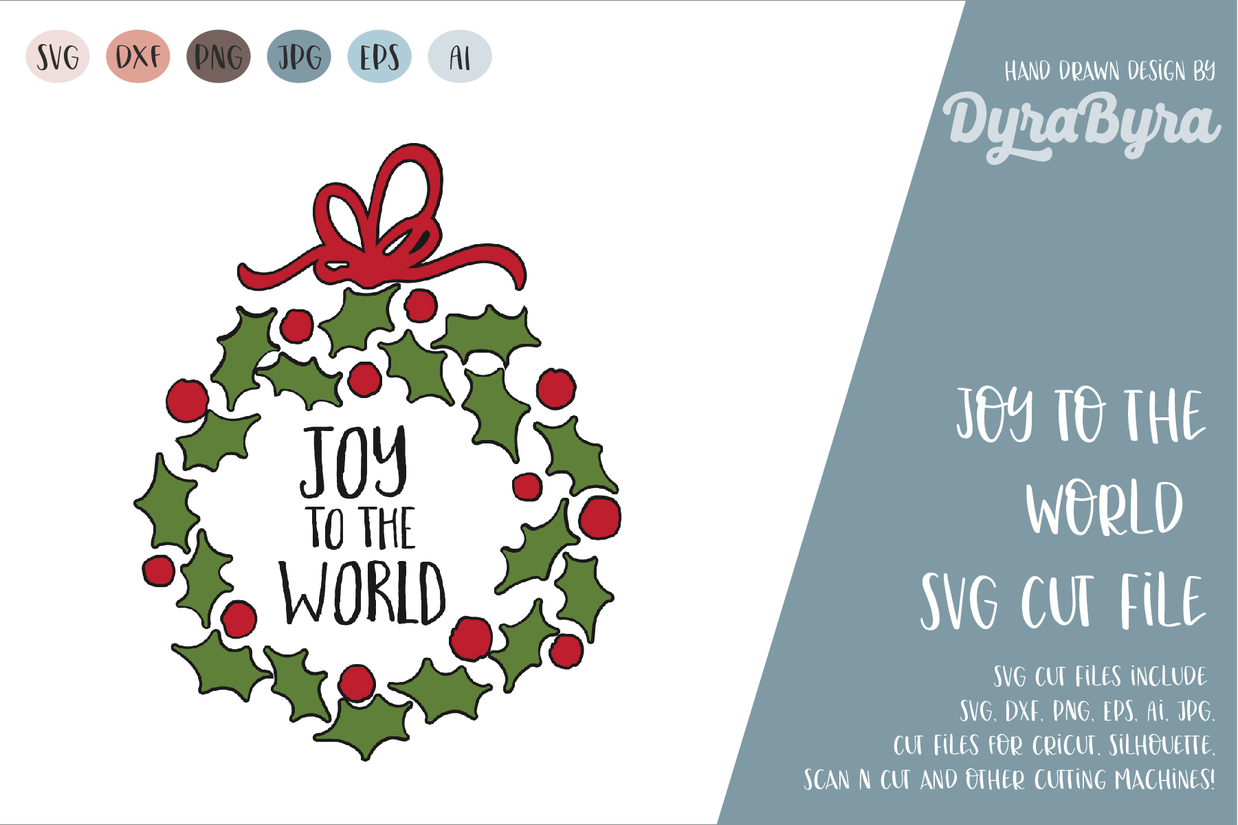 Joy to the World SVG / Christmas SVG Cut File example image 2