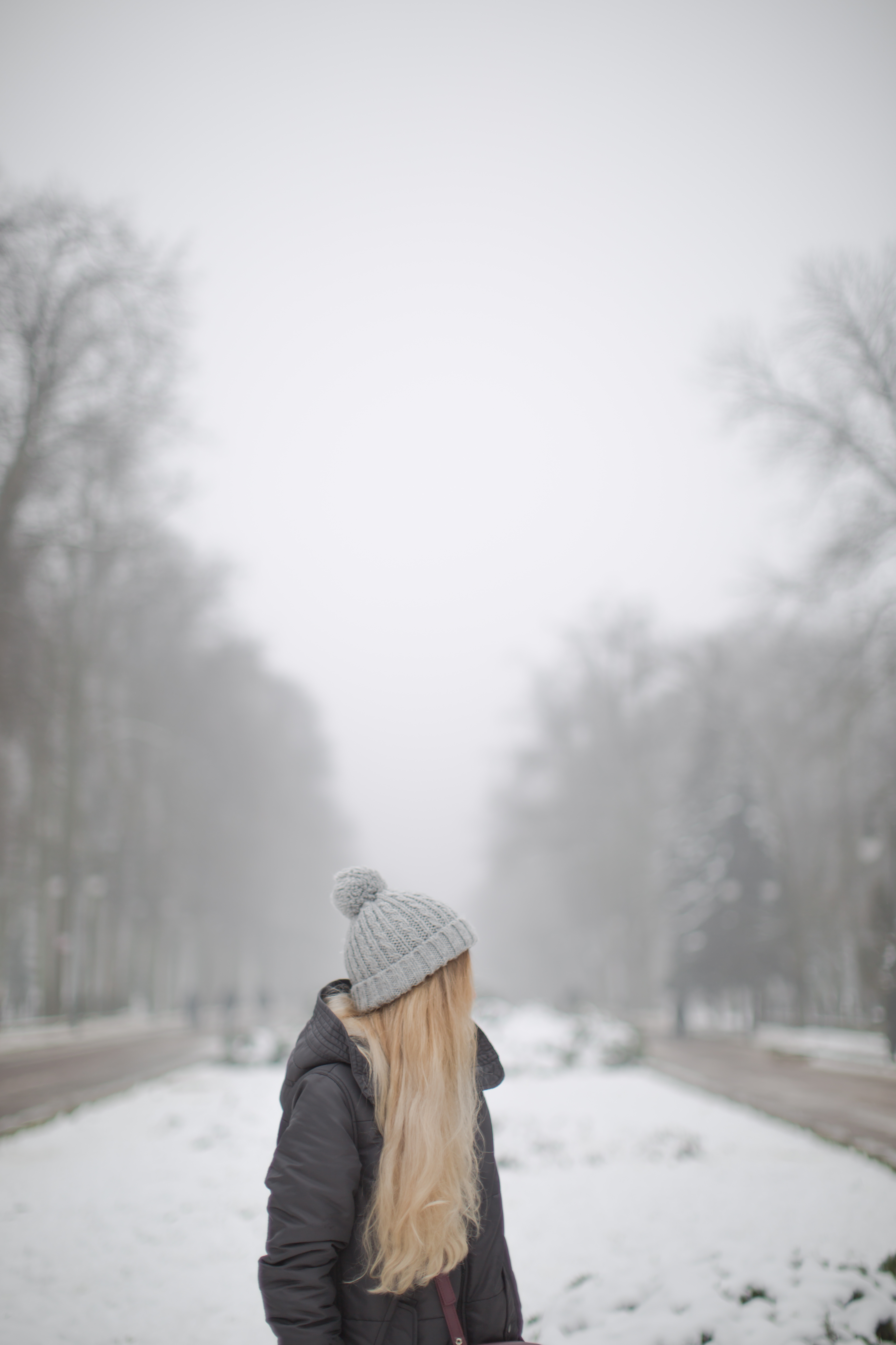 Women walking on the street ,foggy winter day example image 1