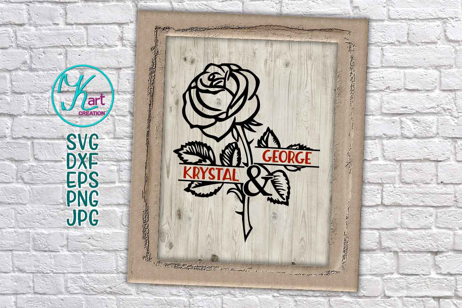 Valentines day Rose couple monogram frame for name svg dxf example image 2