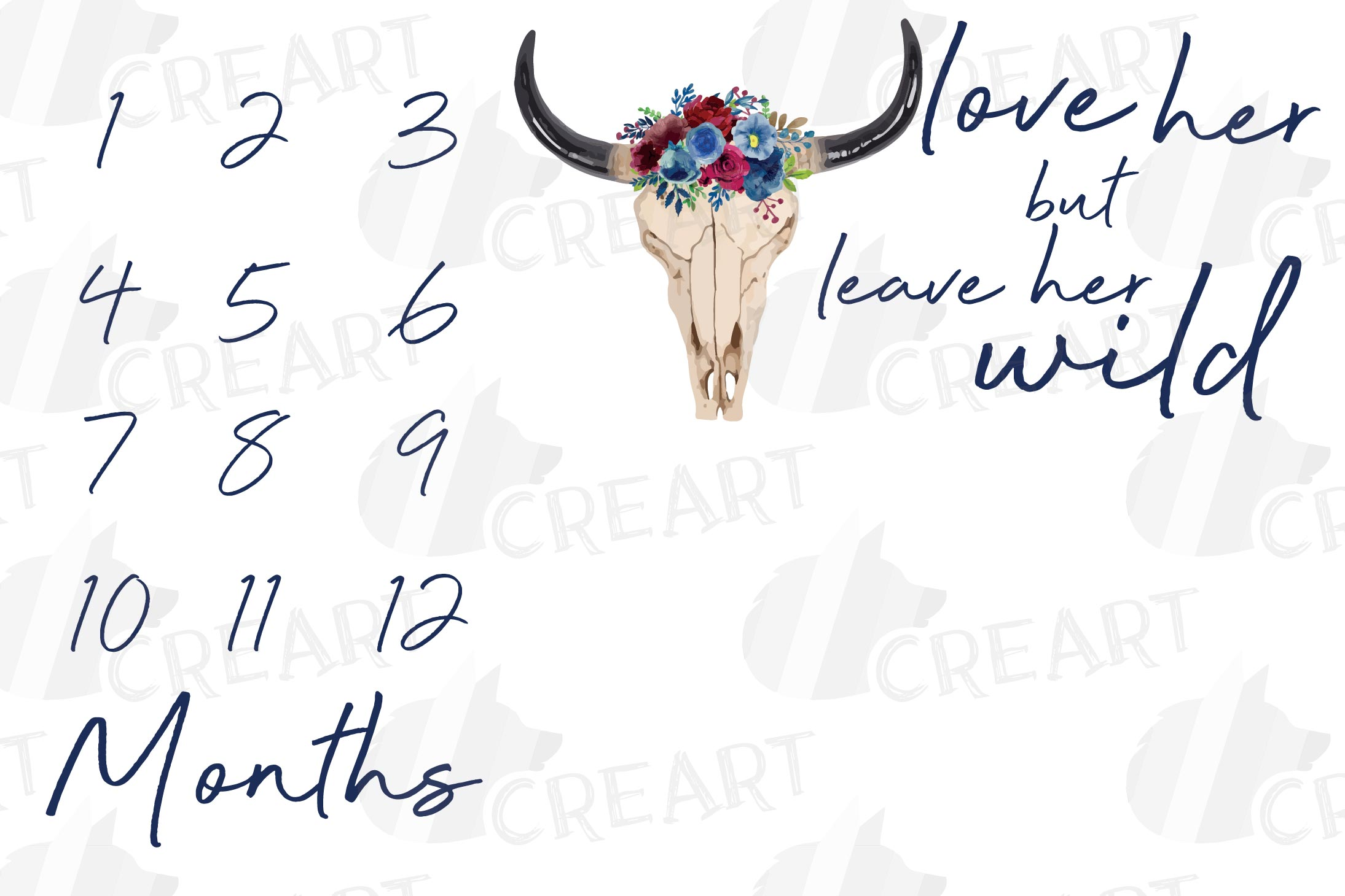 Milestone blanket with floral bull skull. Baby shower gift. example image 1