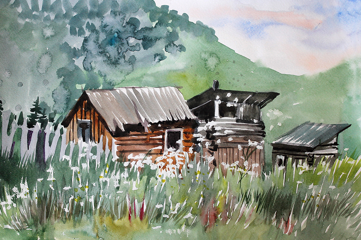 Watercolor Mountain Landscapes example image 3