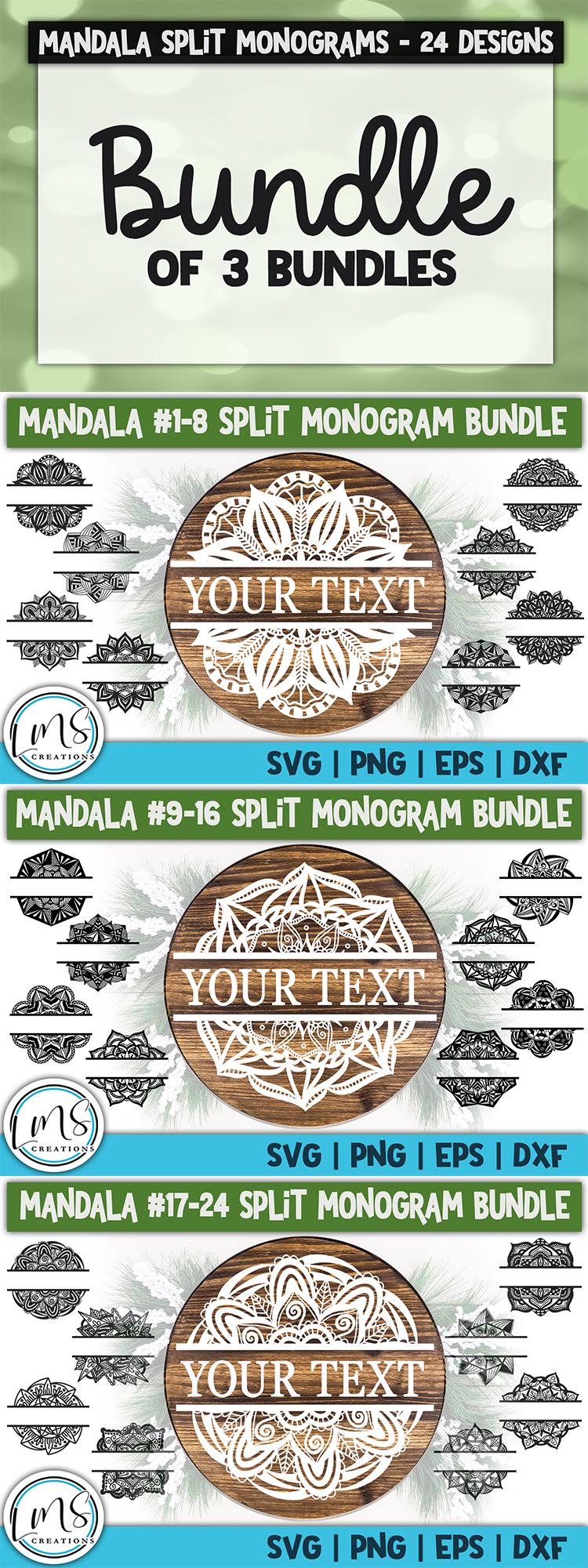Split Mandala 1-24 Split Monogram Bundle SVG, PNG, EPS, DXF example image 6