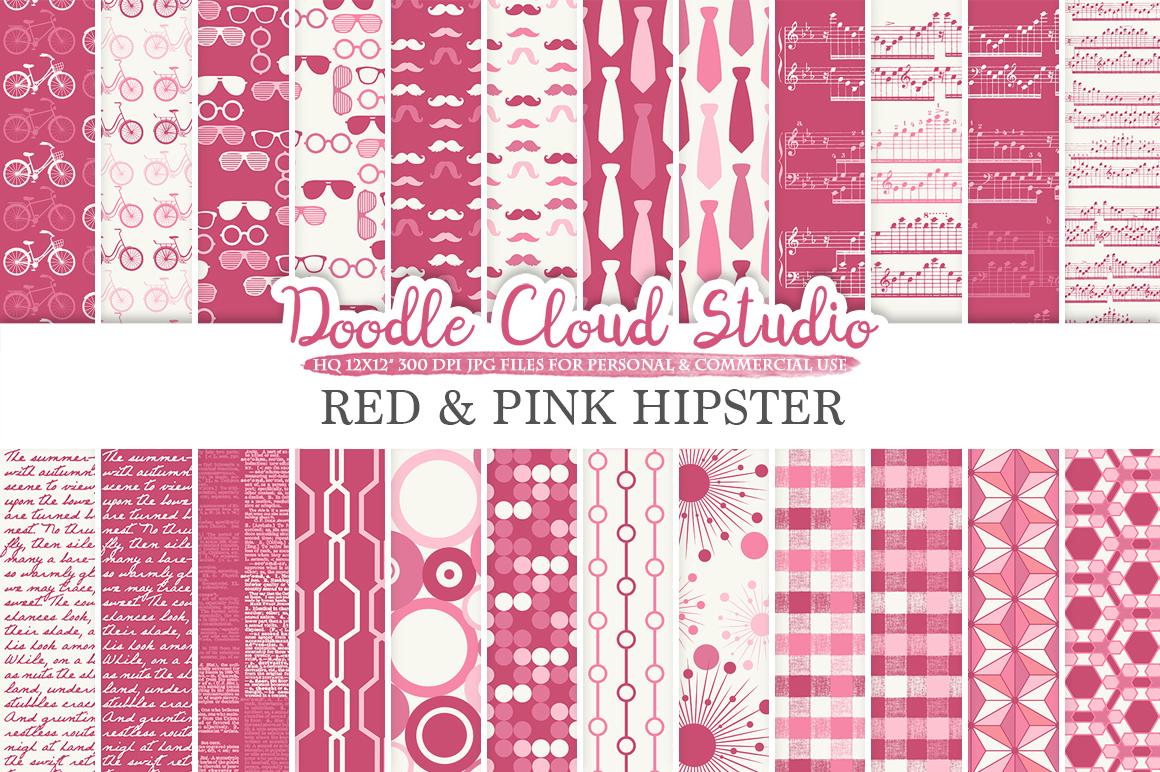 Red and Pink Hipster digital paper Purple Wine Vintage Father's day tie mustaches bike music glasses plaid pattern Personal & Commercial Use example image 1